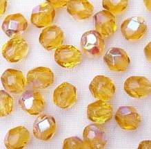 4mm Fire Polished, Medium Topaz AB - 50